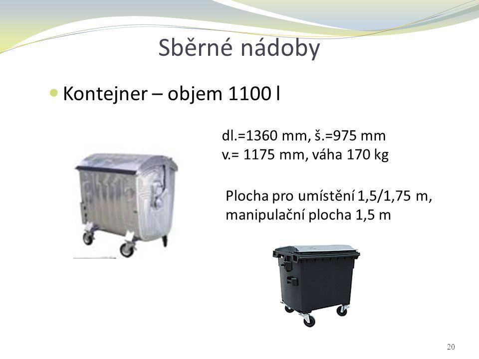 Sběrné nádoby Kontejner – objem 1100 l