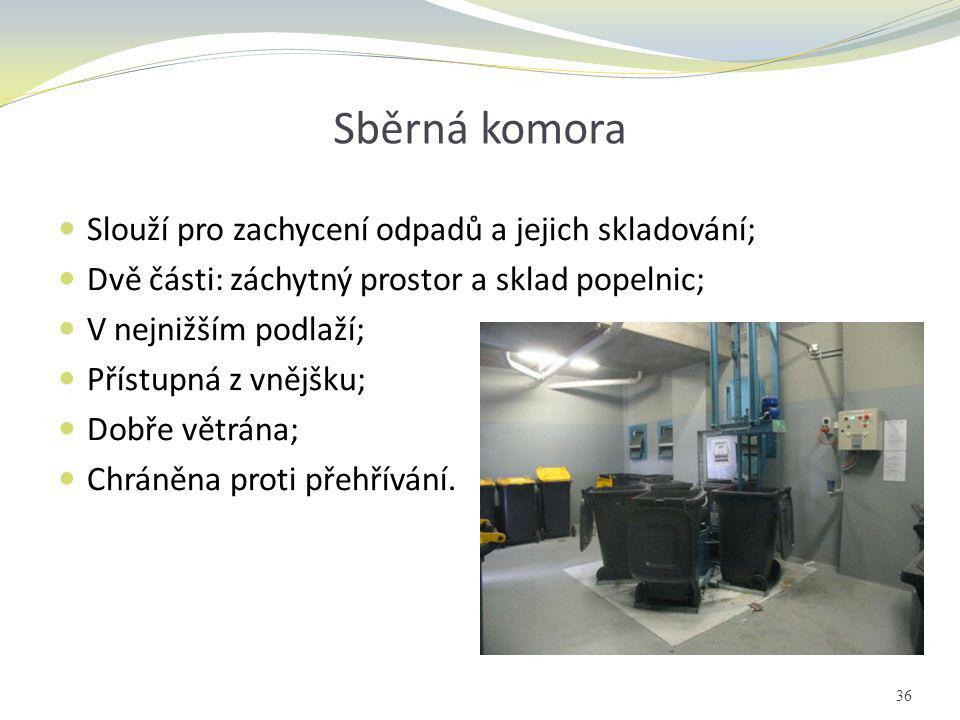 Sběrná komora Slouží pro zachycení odpadů a jejich skladování;