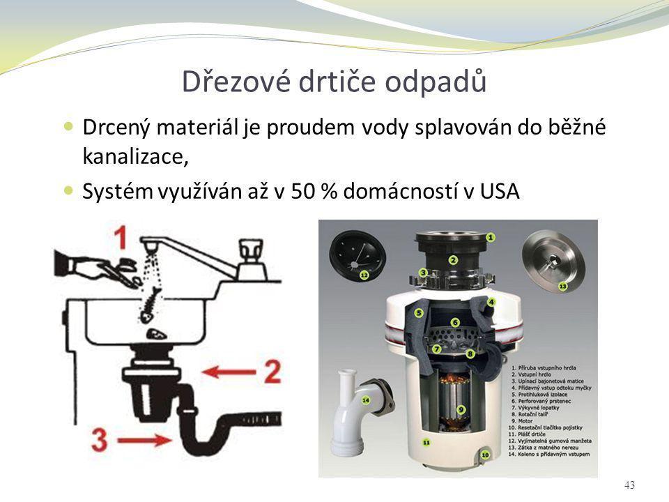 Dřezové drtiče odpadů Drcený materiál je proudem vody splavován do běžné kanalizace, Systém využíván až v 50 % domácností v USA.