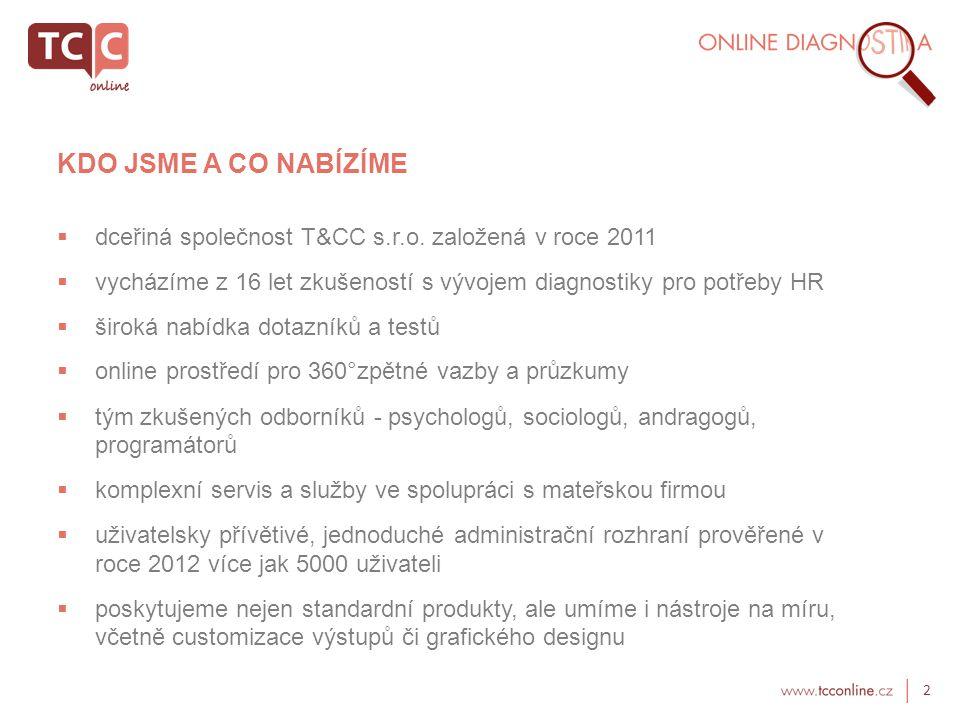 KDO JSME A CO NABÍZÍME dceřiná společnost T&CC s.r.o. založená v roce 2011. vycházíme z 16 let zkušeností s vývojem diagnostiky pro potřeby HR.