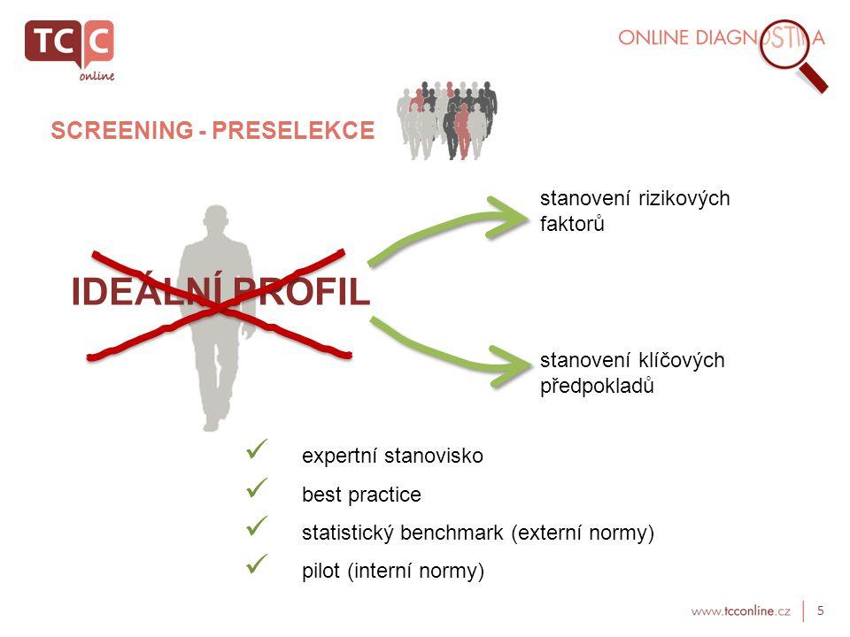 IDEÁLNÍ PROFIL SCREENING - PRESELEKCE stanovení rizikových faktorů