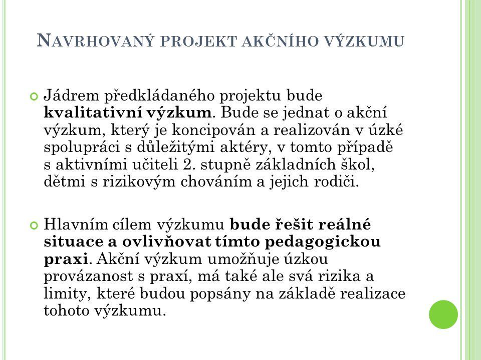 Navrhovaný projekt akčního výzkumu
