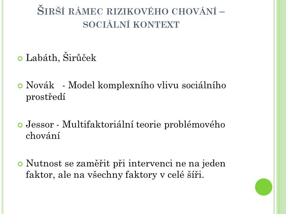Širší rámec rizikového chování – sociální kontext