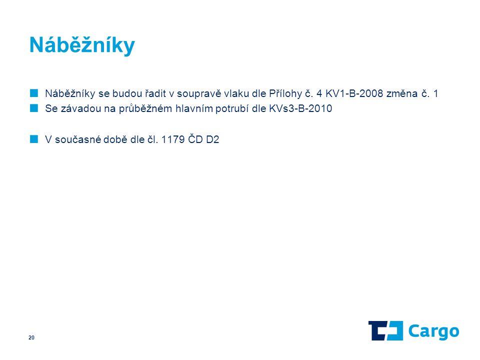 Náběžníky Náběžníky se budou řadit v soupravě vlaku dle Přílohy č. 4 KV1-B-2008 změna č. 1. Se závadou na průběžném hlavním potrubí dle KVs3-B-2010.