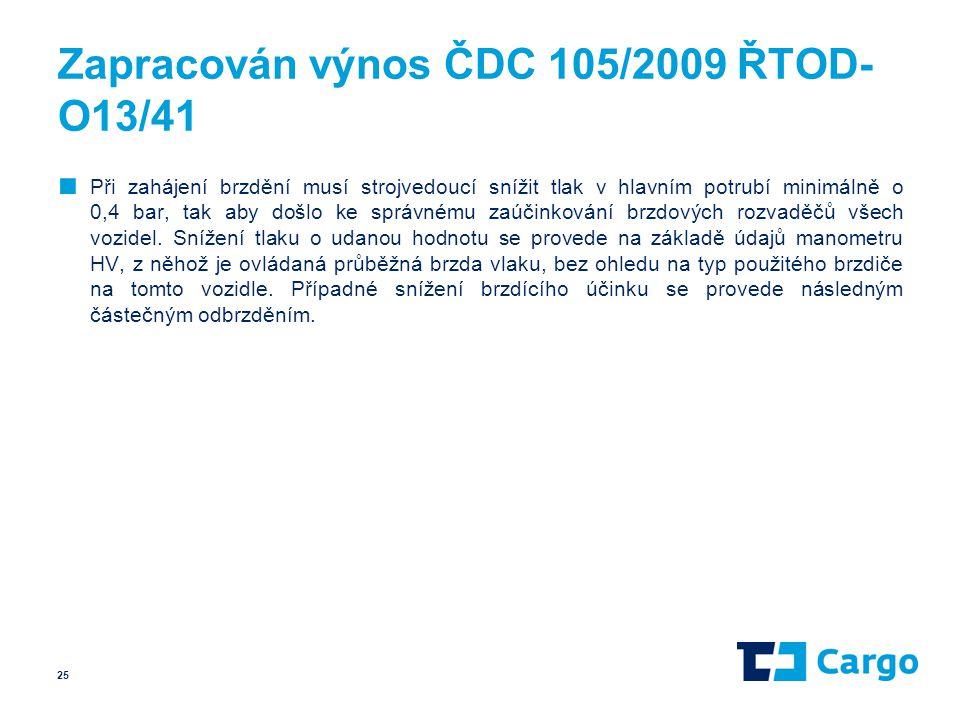 Zapracován výnos ČDC 105/2009 ŘTOD-O13/41