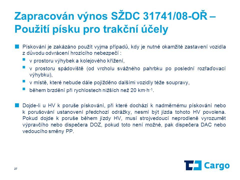 Zapracován výnos SŽDC 31741/08-OŘ – Použití písku pro trakční účely