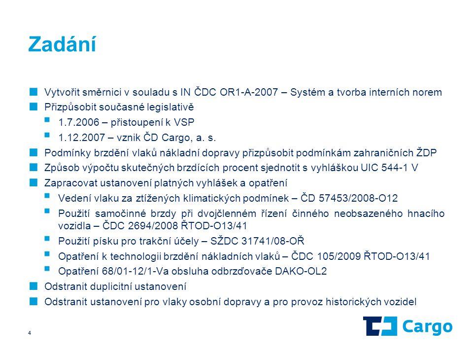 Zadání Vytvořit směrnici v souladu s IN ČDC OR1-A-2007 – Systém a tvorba interních norem. Přizpůsobit současné legislativě.
