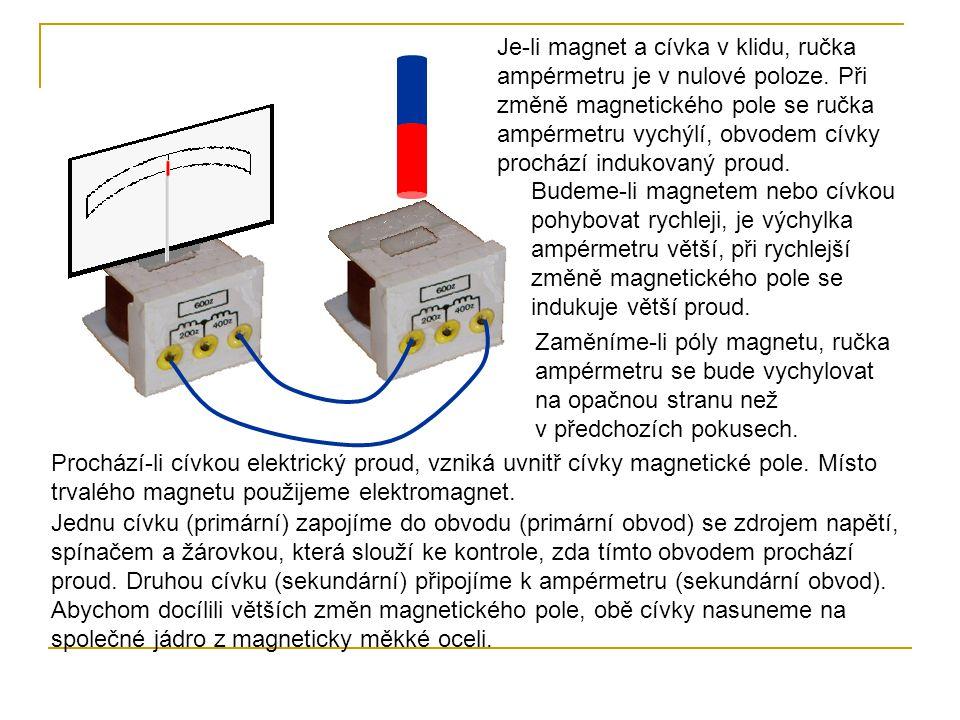 Je-li magnet a cívka v klidu, ručka ampérmetru je v nulové poloze