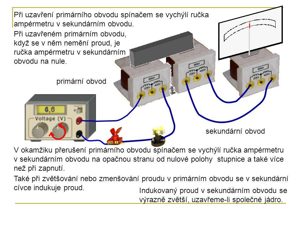 Při uzavření primárního obvodu spínačem se vychýlí ručka ampérmetru v sekundárním obvodu.