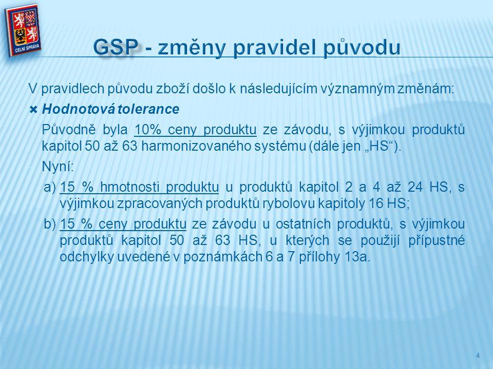GSP - změny pravidel původu