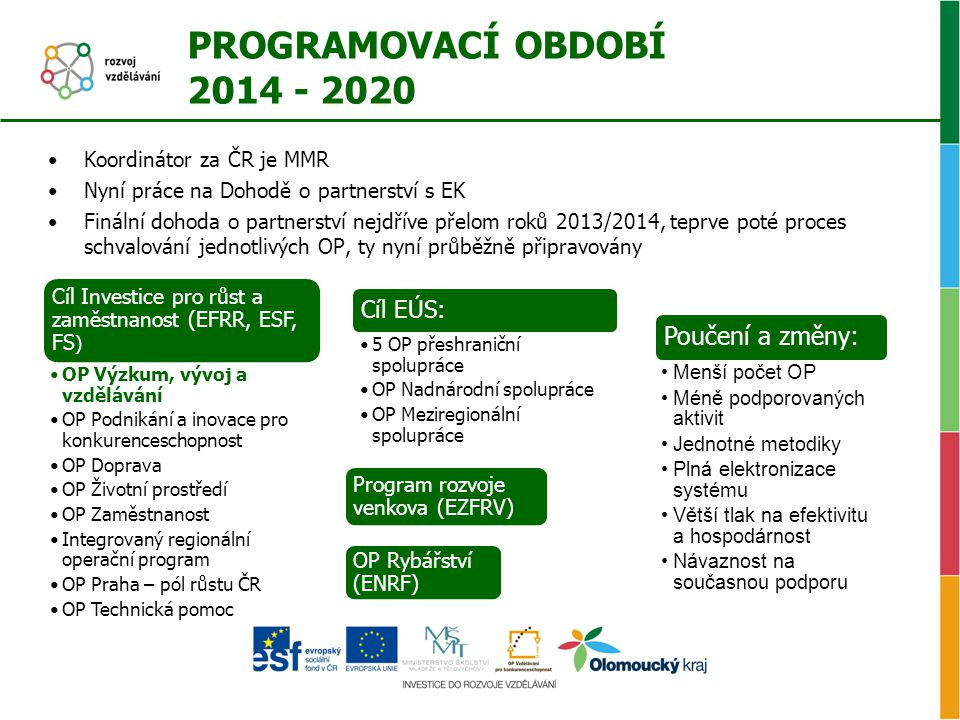 PROGRAMOVACÍ OBDOBÍ 2014 - 2020 Poučení a změny: Cíl EÚS: