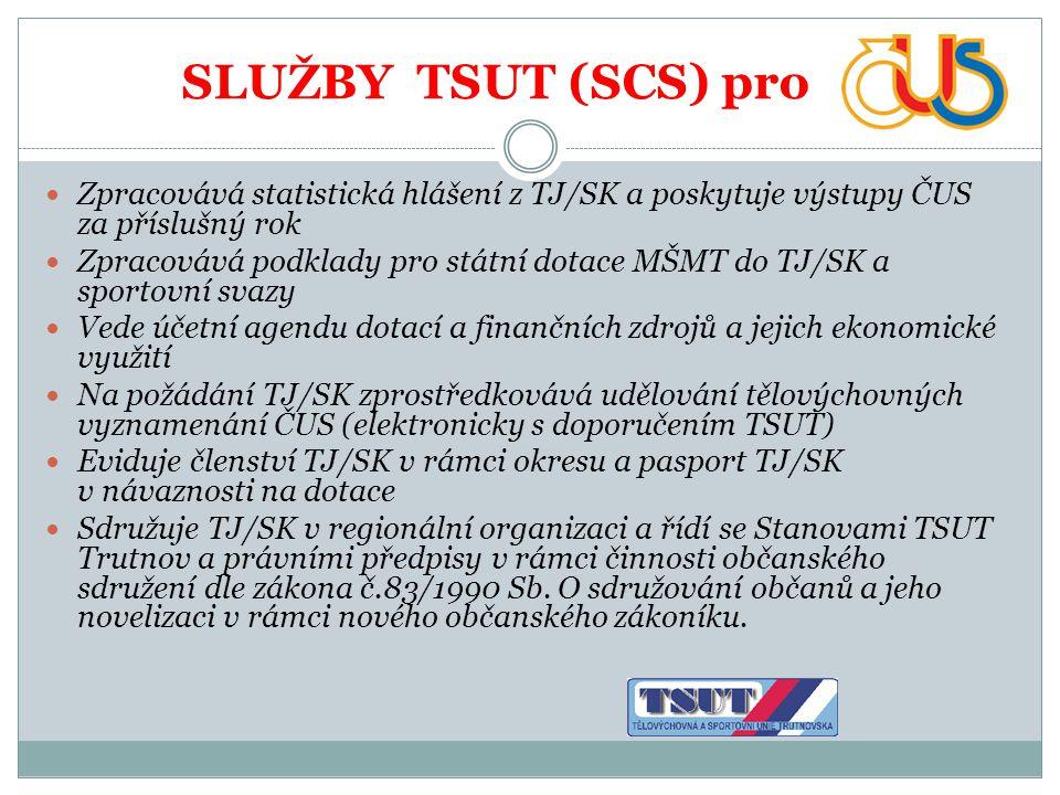 SLUŽBY TSUT (SCS) pro Zpracovává statistická hlášení z TJ/SK a poskytuje výstupy ČUS za příslušný rok.