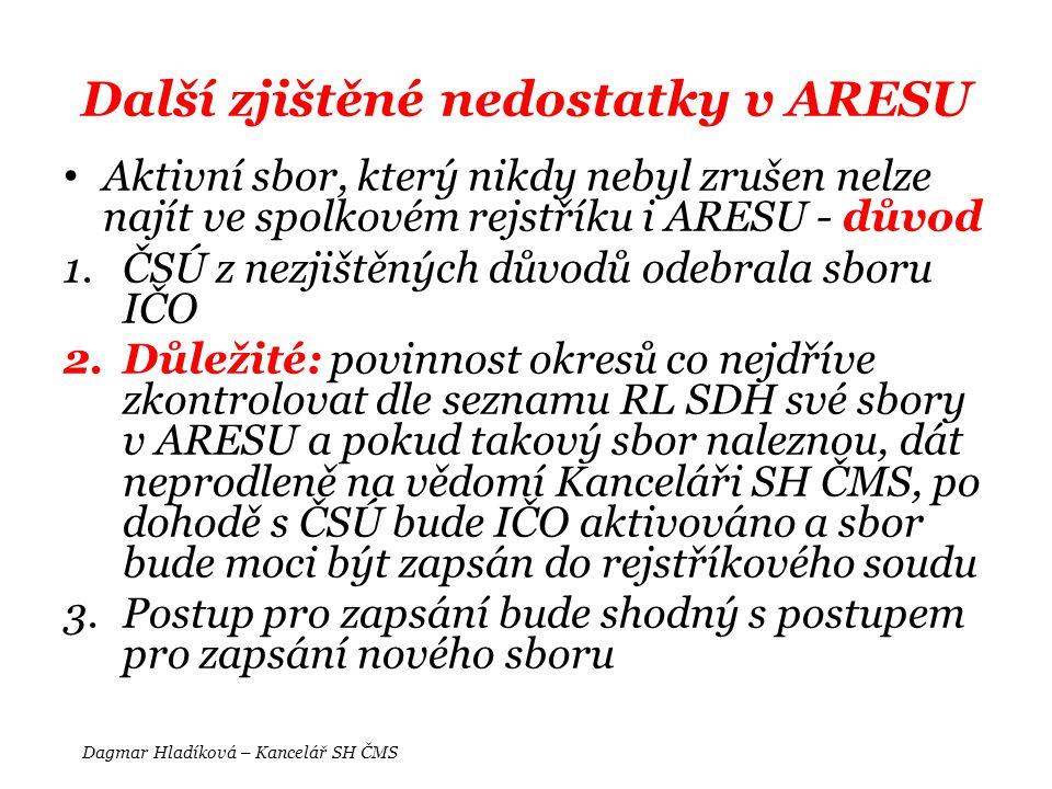 Další zjištěné nedostatky v ARESU