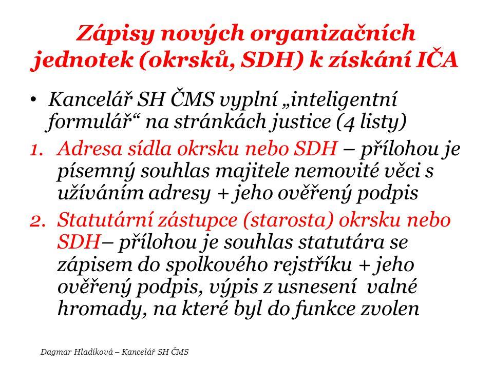 Zápisy nových organizačních jednotek (okrsků, SDH) k získání IČA
