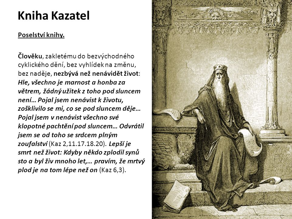 Kniha Kazatel Poselství knihy.