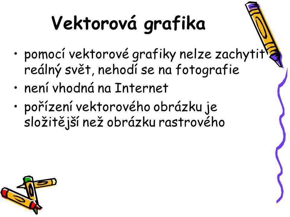 Vektorová grafika pomocí vektorové grafiky nelze zachytit reálný svět, nehodí se na fotografie. není vhodná na Internet.