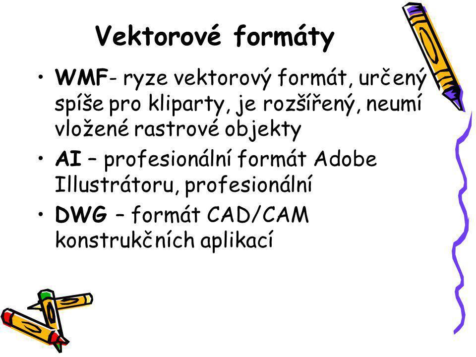 Vektorové formáty WMF- ryze vektorový formát, určený spíše pro kliparty, je rozšířený, neumí vložené rastrové objekty.
