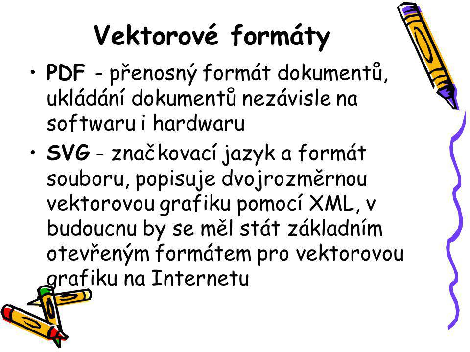 Vektorové formáty PDF - přenosný formát dokumentů, ukládání dokumentů nezávisle na softwaru i hardwaru.