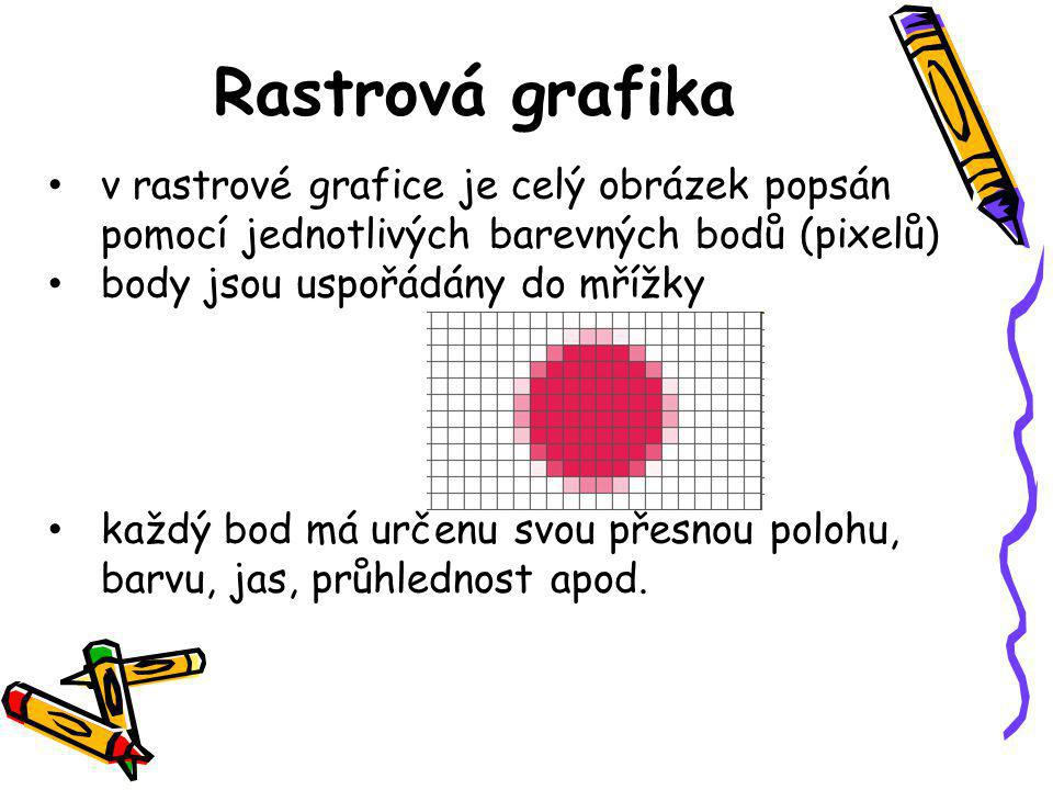 Rastrová grafika v rastrové grafice je celý obrázek popsán pomocí jednotlivých barevných bodů (pixelů)