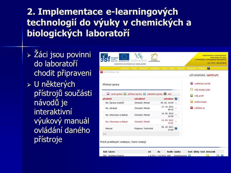 2. Implementace e-learningových technologií do výuky v chemických a biologických laboratoří
