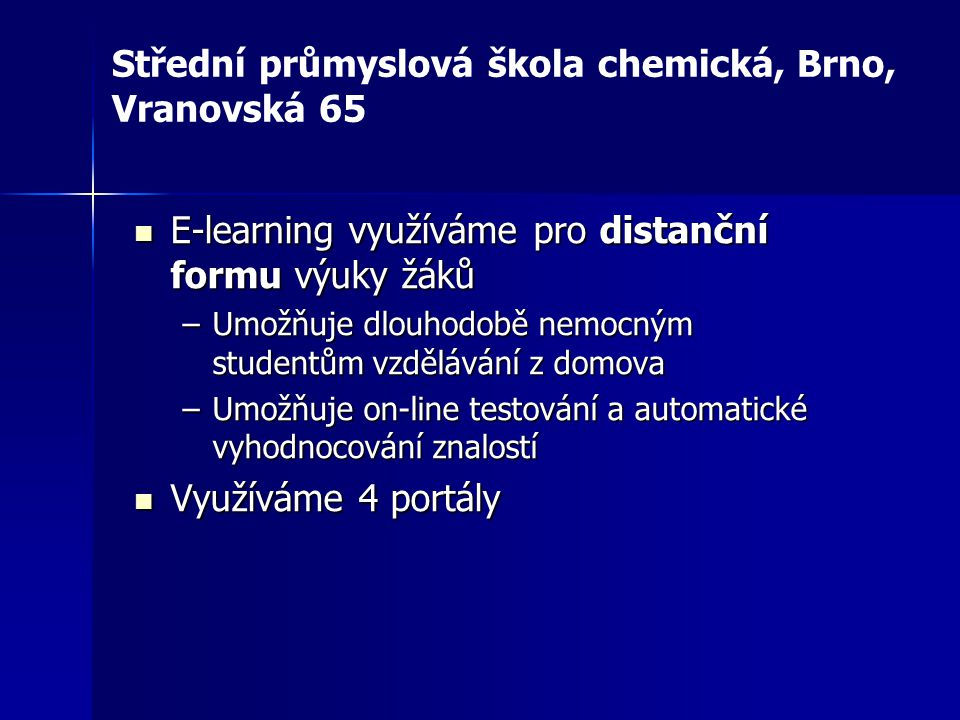 Střední průmyslová škola chemická, Brno, Vranovská 65