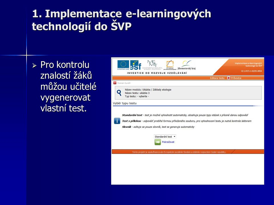 1. Implementace e-learningových technologií do ŠVP