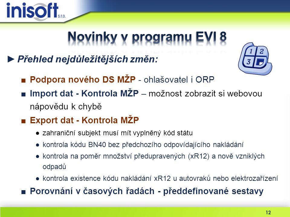 Novinky v programu EVI 8 Přehled nejdůležitějších změn: