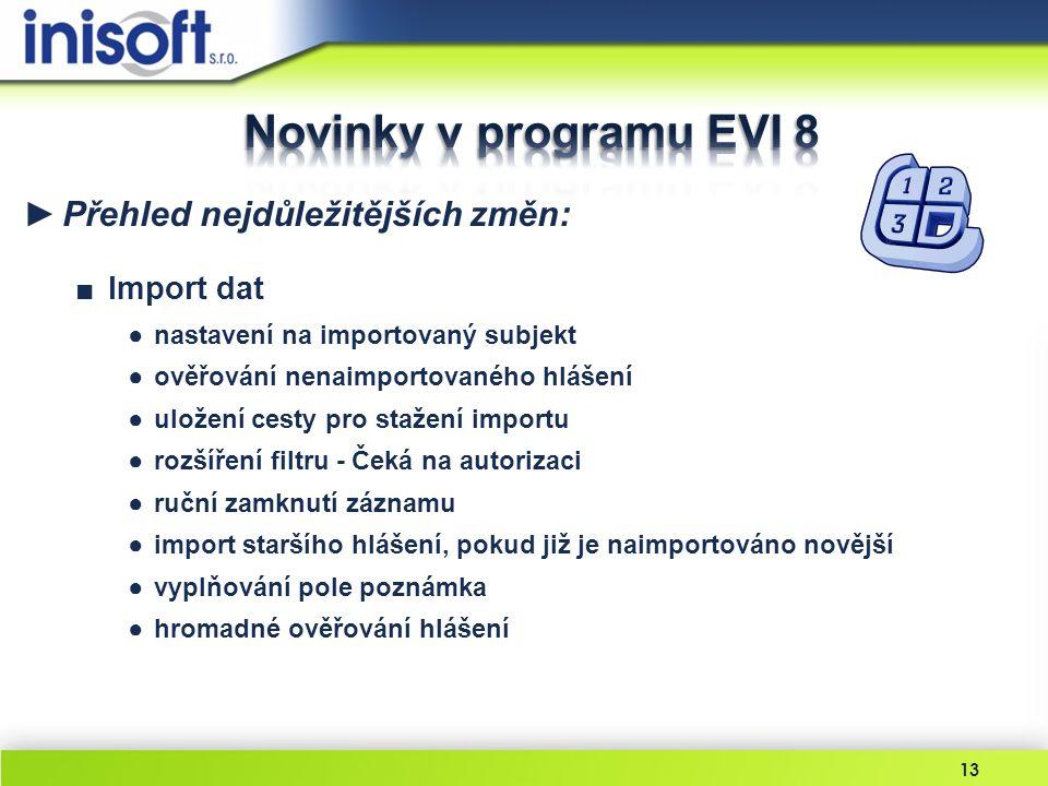 Novinky v programu EVI 8 Přehled nejdůležitějších změn: Import dat