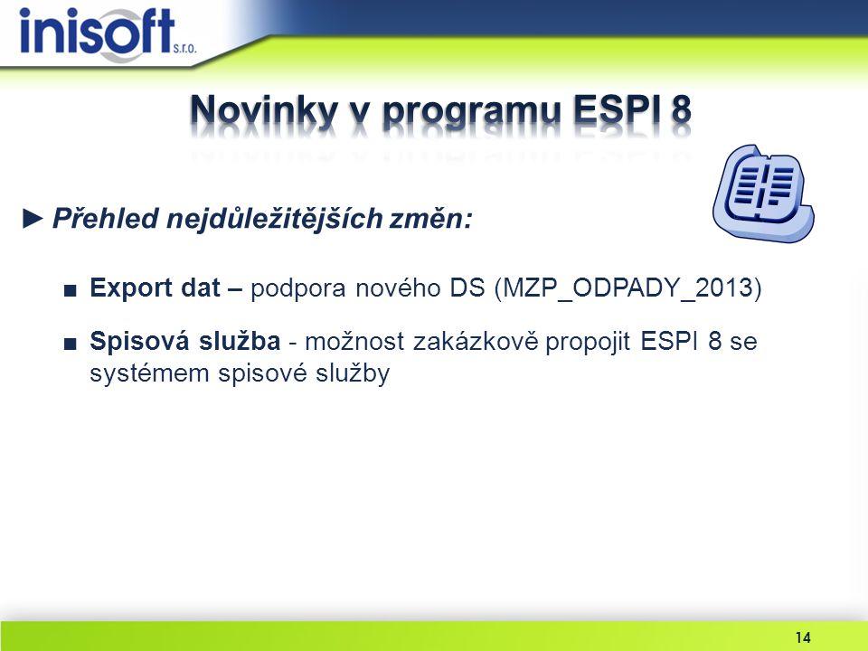 Novinky v programu ESPI 8
