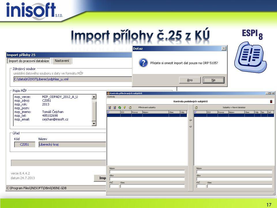 Import přílohy č.25 z KÚ