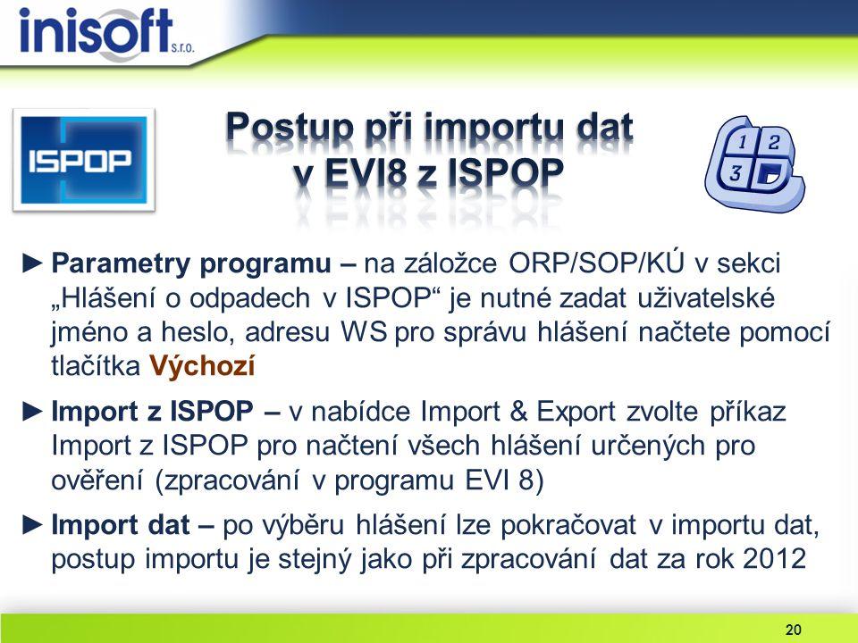 Postup při importu dat v EVI8 z ISPOP