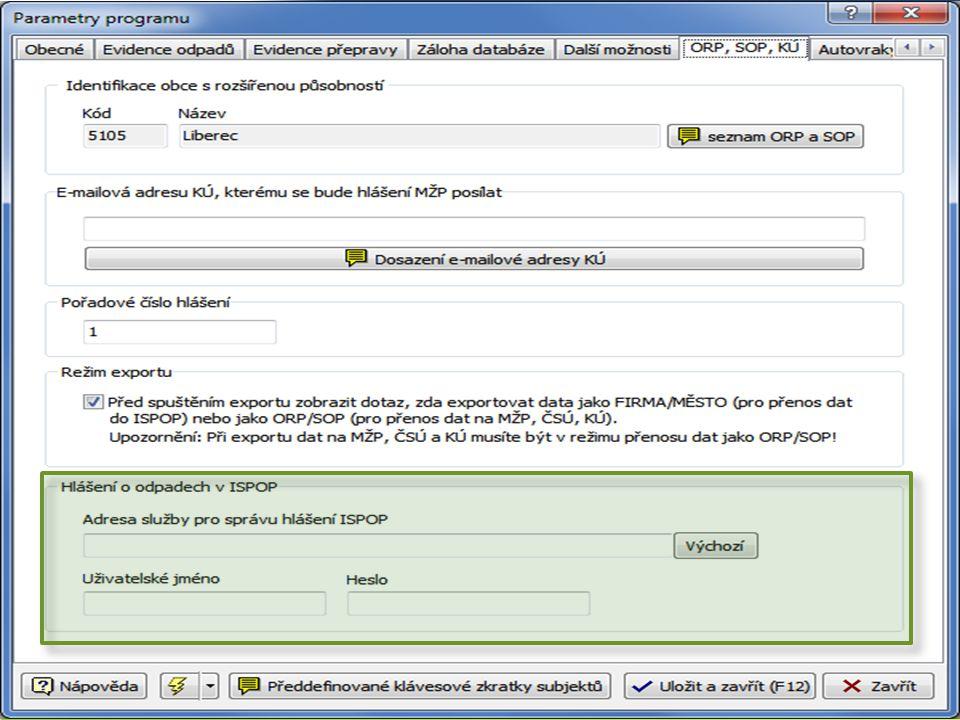 Nastavení programu EVI8 přístupové údaje do ISPOP