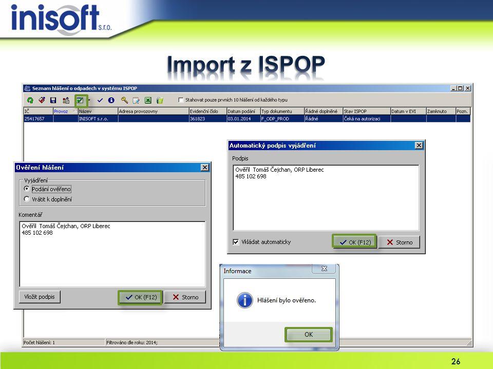 Import z ISPOP