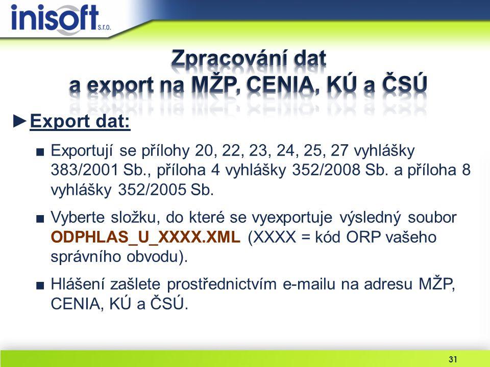 Zpracování dat a export na MŽP, CENIA, KÚ a ČSÚ