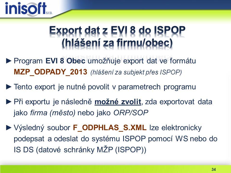 Export dat z EVI 8 do ISPOP (hlášení za firmu/obec)