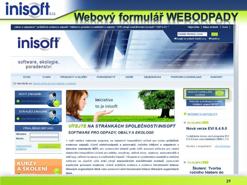 Webový formulář WEBODPADY
