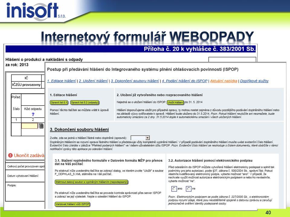 Internetový formulář WEBODPADY