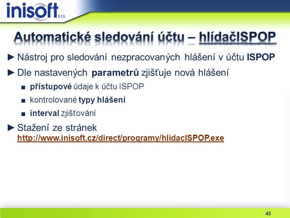 Automatické sledování účtu – hlídačISPOP