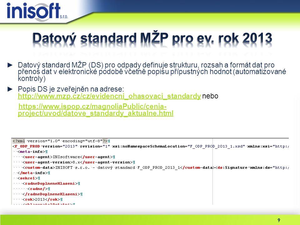 Datový standard MŽP pro ev. rok 2013
