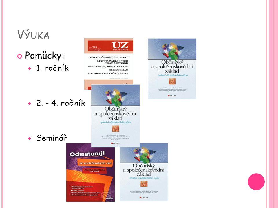 Výuka Pomůcky: 1. ročník 2. - 4. ročník Seminář