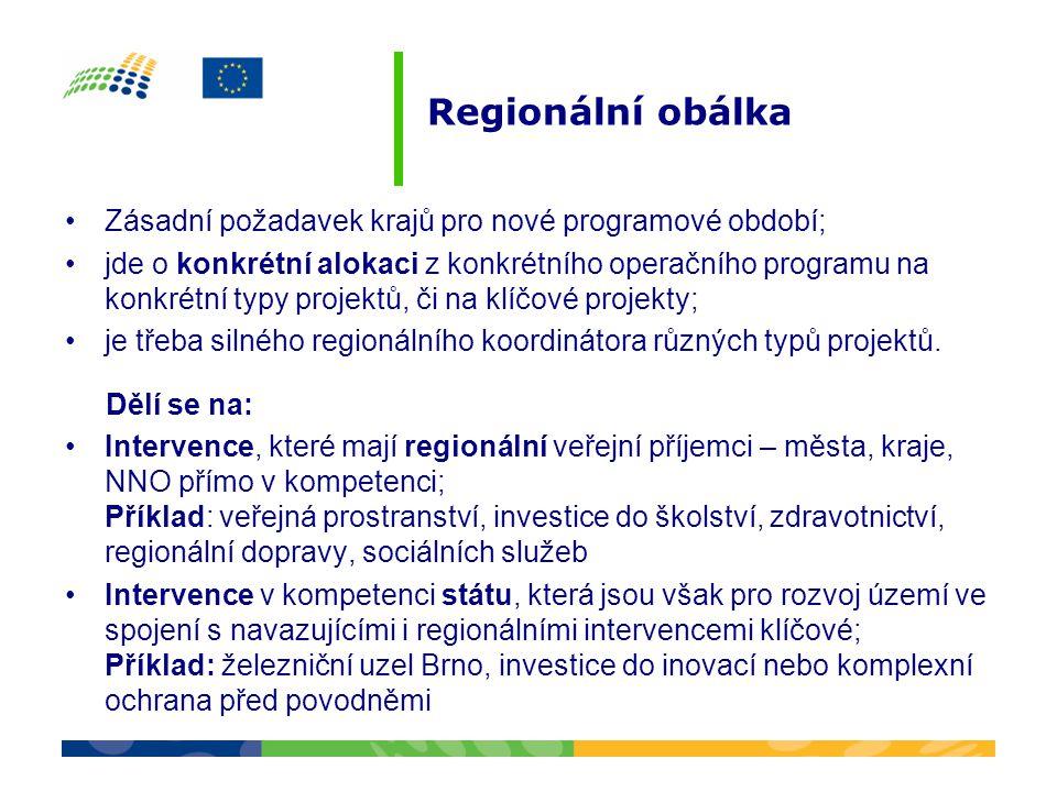 Regionální obálka Zásadní požadavek krajů pro nové programové období;