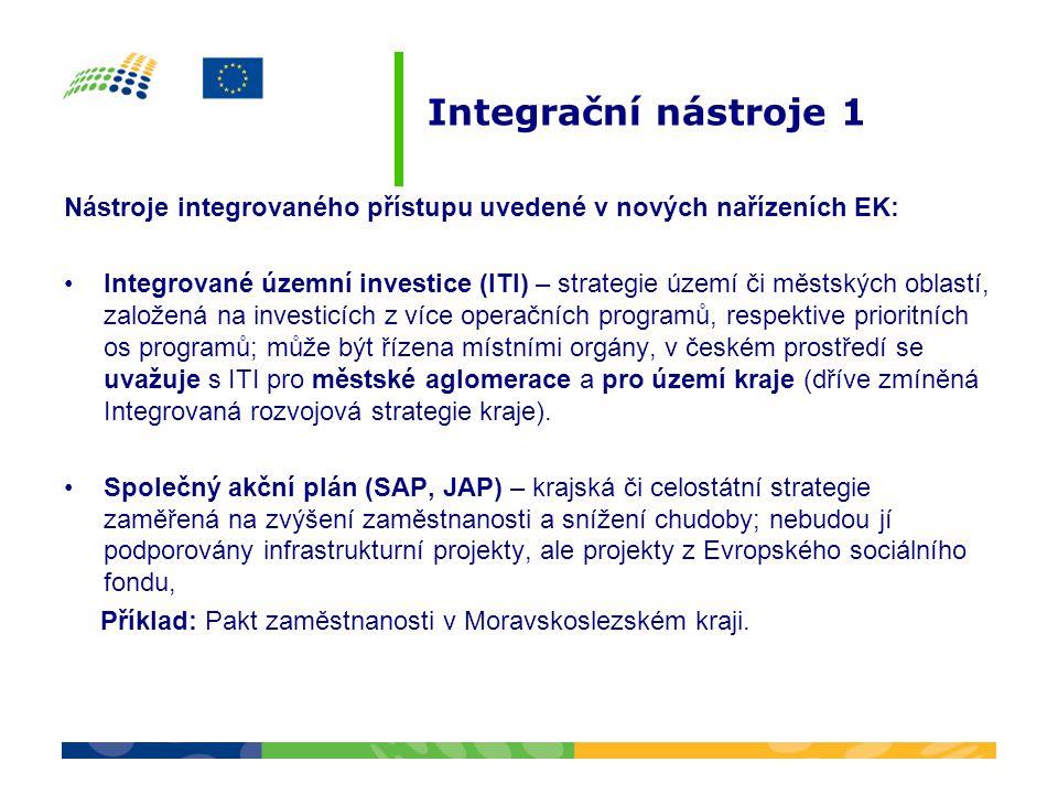 Integrační nástroje 1 Nástroje integrovaného přístupu uvedené v nových nařízeních EK: