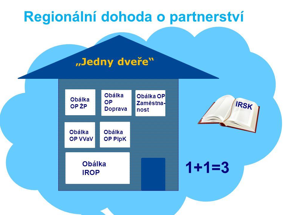 """1+1=3 Regionální dohoda o partnerství """"Jedny dveře IRSK Obálka IROP"""