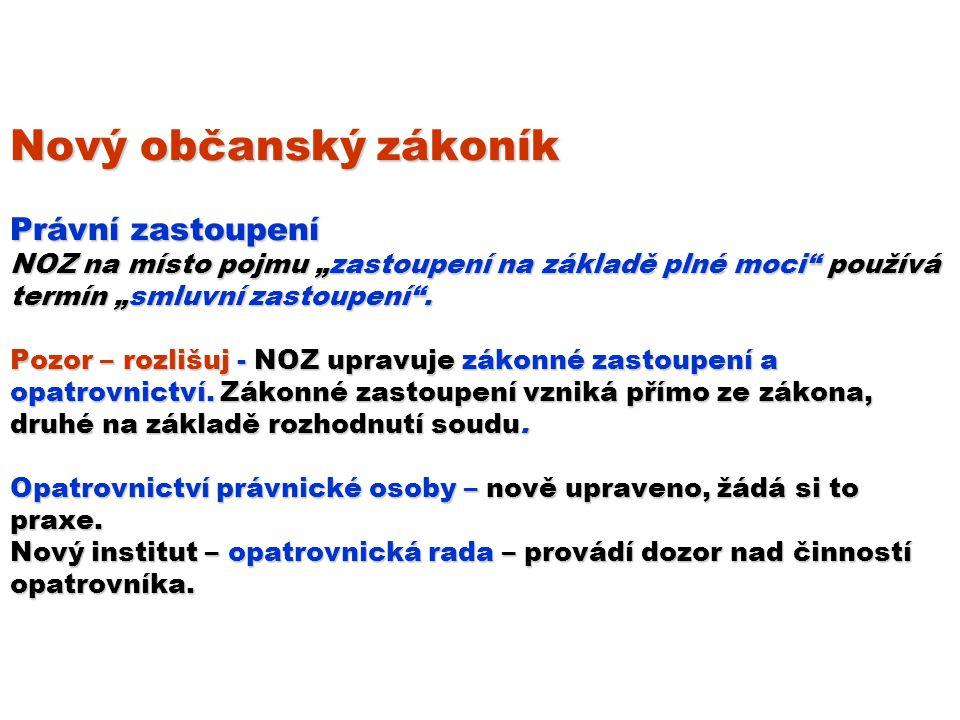 """Nový občanský zákoník Právní zastoupení NOZ na místo pojmu """"zastoupení na základě plné moci používá termín """"smluvní zastoupení ."""