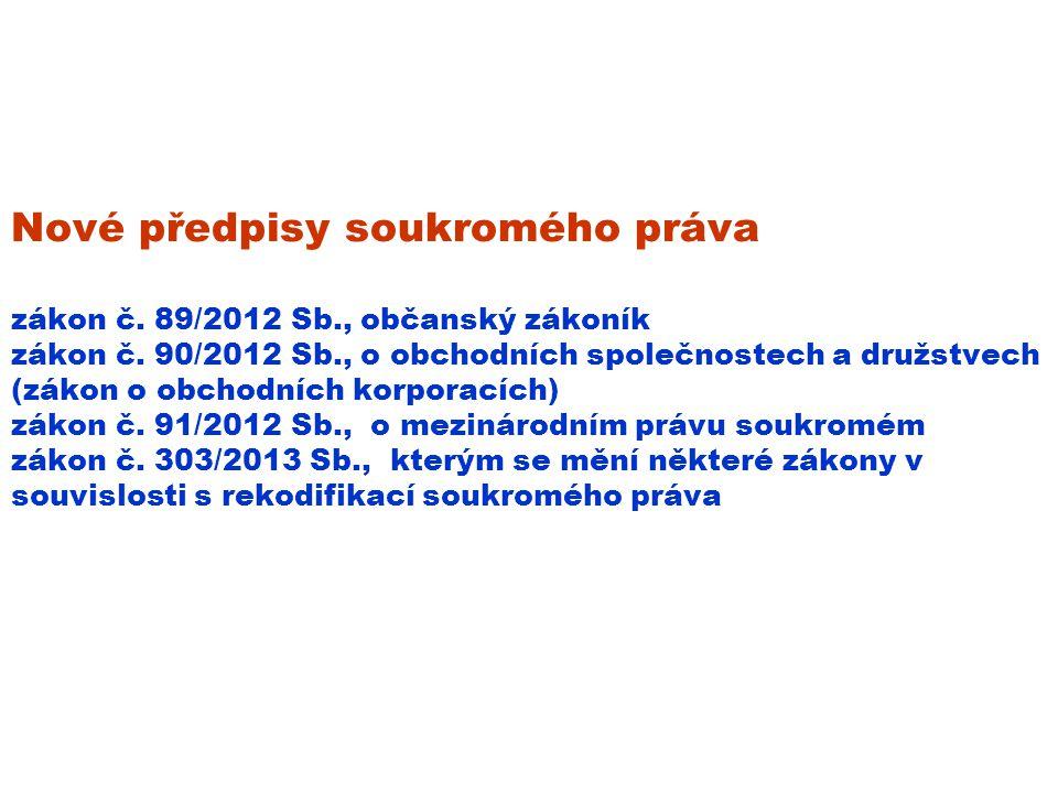 Nové předpisy soukromého práva zákon č. 89/2012 Sb