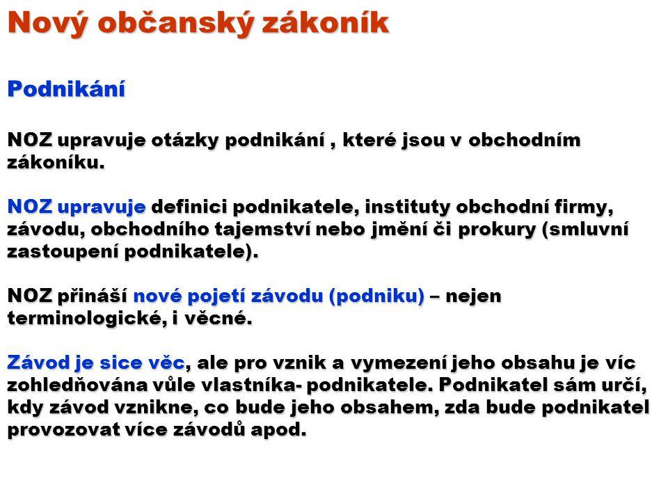 Nový občanský zákoník Podnikání NOZ upravuje otázky podnikání , které jsou v obchodním zákoníku.