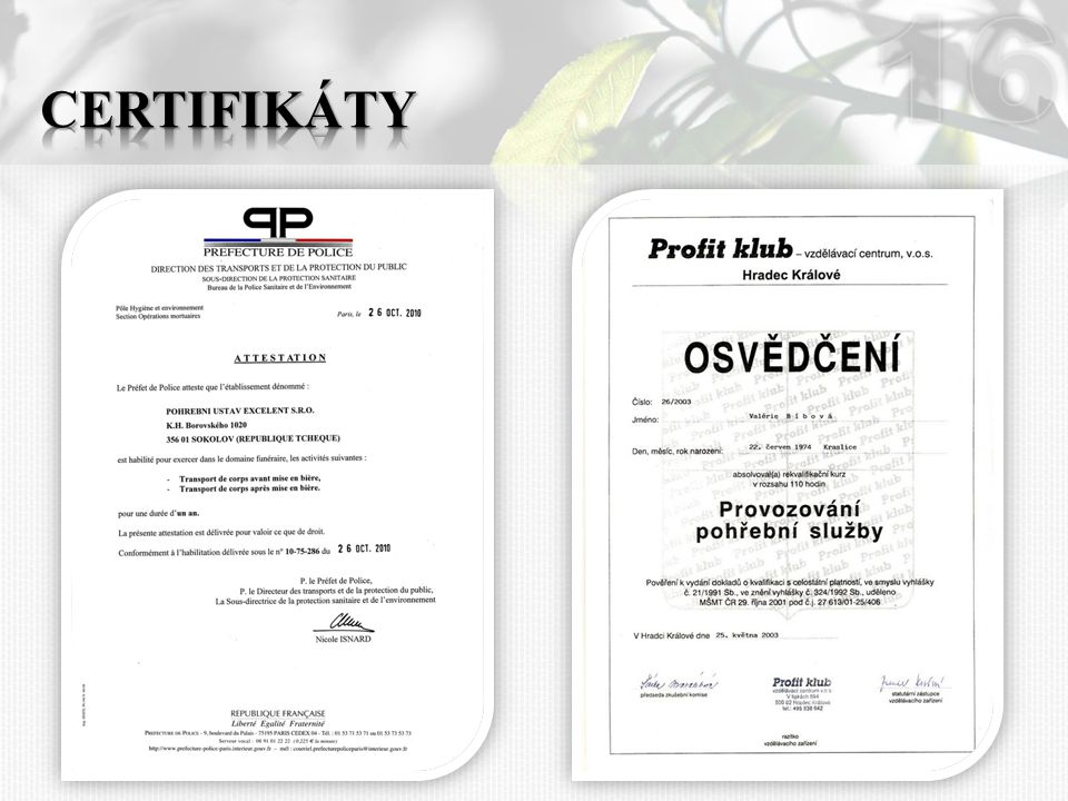 16 Certifikáty