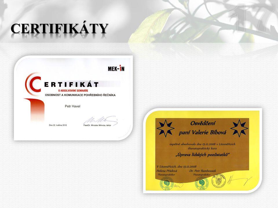 17 Certifikáty