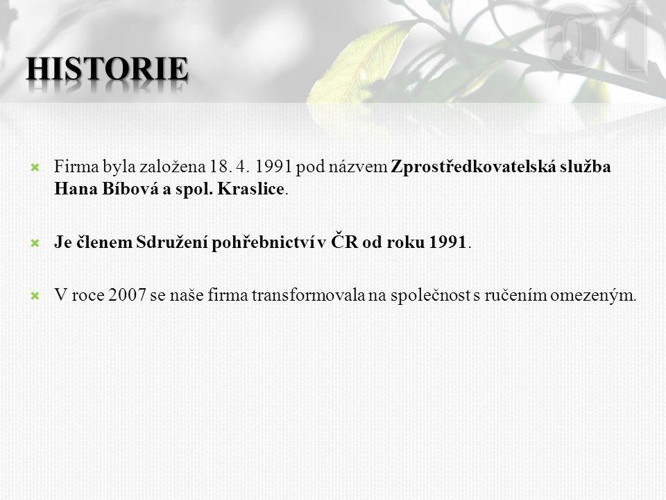 01 HISTORIE. Firma byla založena 18. 4. 1991 pod názvem Zprostředkovatelská služba Hana Bíbová a spol. Kraslice.