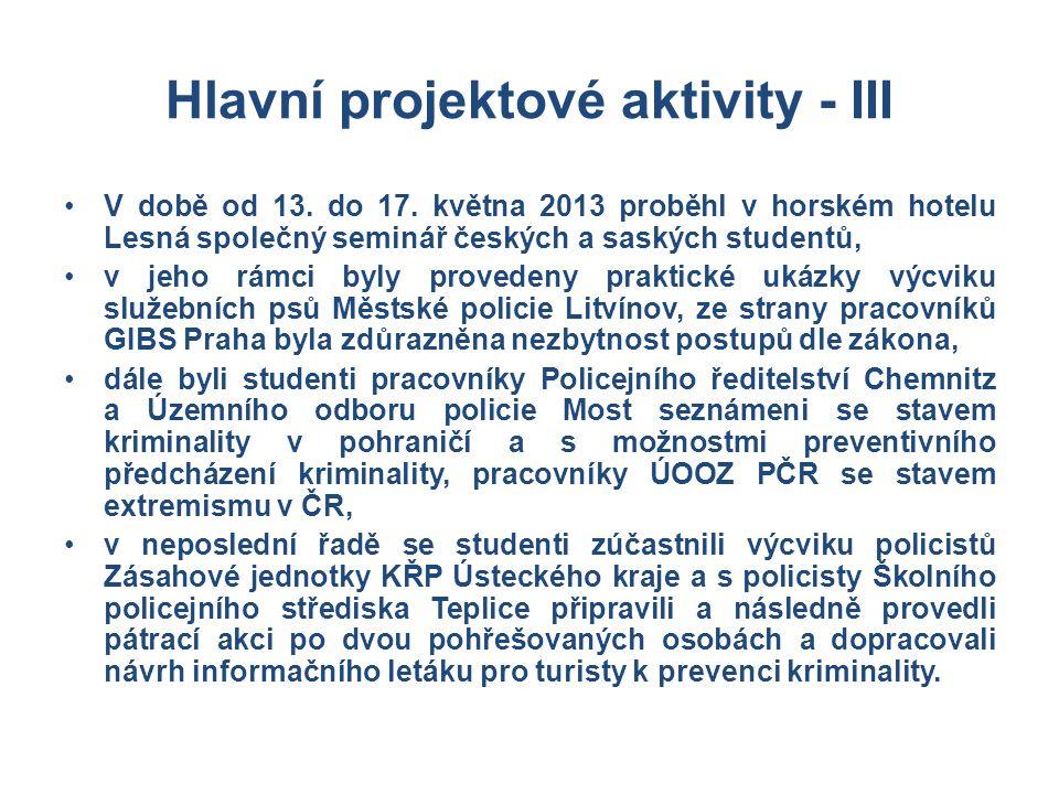 Hlavní projektové aktivity - III